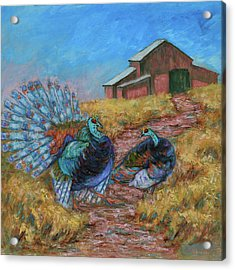 Acrylic Print featuring the painting Turkey Tom's Tango by Xueling Zou