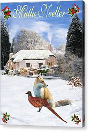 Turkish  Winter Garden Fox And Pheasant Acrylic Print
