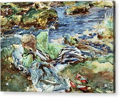 Turkish Woman By A Stream Acrylic Print by John Singer Sargent