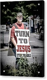 Turn To Jesus Acrylic Print by John Haldane