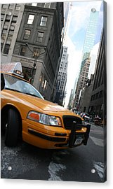 Turning Taxi Acrylic Print by Jeff Porter