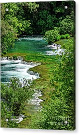 Turqouise Waterfalls Of Skradinski Buk At Krka National Park In Croatia Acrylic Print