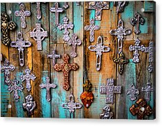 Turquoise And Crosses Acrylic Print