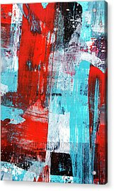 Acrylic Print featuring the painting Turquoise And Red Abstract Painting by Christina Rollo