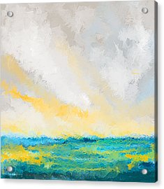 Turquoise And Yellow Art Acrylic Print by Lourry Legarde