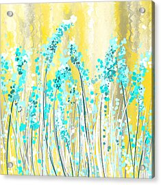 Turquoise And Yellow Acrylic Print by Lourry Legarde