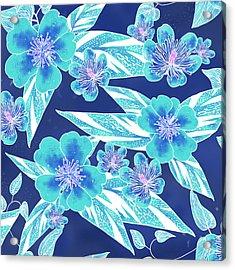 Turquoise Batik Tile 1- Camellia Acrylic Print