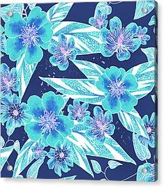 Turquoise Batik Tile 2 - Bidens Acrylic Print