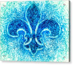 Turquoise Bleu Fleur De Lys Acrylic Print by Janine Riley