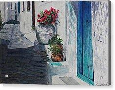 Turquoise Door Acrylic Print by Yvonne Ayoub