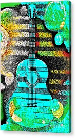 Turquoise Guitar By Jasna Gopic Acrylic Print by Jasna Gopic