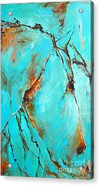 Acrylic Print featuring the painting Turquoise Impression by Cher Devereaux