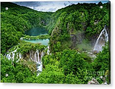 Turquoise Lakes And Waterfalls - A Dramatic View, Plitivice Lakes National Park Croatia Acrylic Print