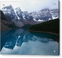 Turquoise Reflection At Moraine Lake Acrylic Print by Jetson Nguyen
