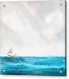 Turquoise Sailing - Moonlight Sailing Acrylic Print by Lourry Legarde