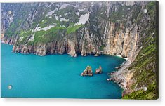 turquoise sea at Slieve League cliffs Ireland Acrylic Print by Pierre Leclerc Photography