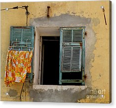 Turquoise Shuttered Window Acrylic Print by Lainie Wrightson