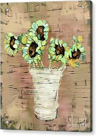 Acrylic Print featuring the painting Turquoise Sunflowers by Carrie Joy Byrnes