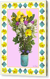 Acrylic Print featuring the digital art Turquoise Vase With Spring Bouquet by Lise Winne