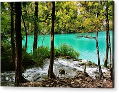 Turquoise Waters Of Milanovac Lake Acrylic Print by Two Small Potatoes