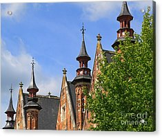 Turrets And Roofs Beside Steenhouwersdijk Canal In Bruges Acrylic Print