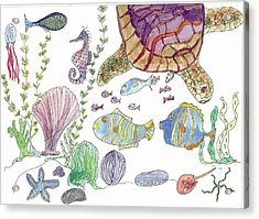Turtle And Sea Life Acrylic Print