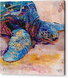 Acrylic Print featuring the painting Turtle At Poipu Beach 6 by Marionette Taboniar