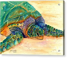 Acrylic Print featuring the painting Turtle At Poipu Beach 7 by Marionette Taboniar