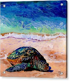 Turtle At Poipu Beach 9 Acrylic Print by Marionette Taboniar