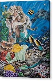 Turtle Mermaid Acrylic Print