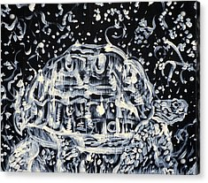 Acrylic Print featuring the painting Turtle Walking Under A Starry Sky by Fabrizio Cassetta