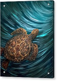 Turtle Wave Deep Blue Acrylic Print