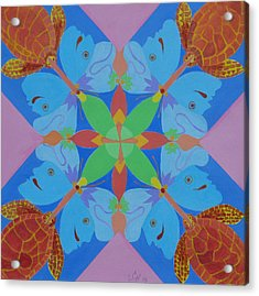 Turtles And Butterfly People Acrylic Print by Seema  Gill