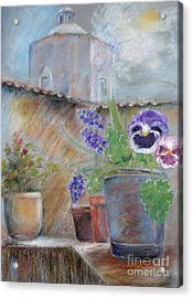 Acrylic Print featuring the painting Tuscan Courtyard by Sibby S
