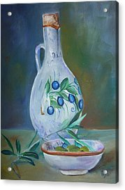 Tuscan Elements - Olive Oil With Olives Acrylic Print by Virgilla Lammons