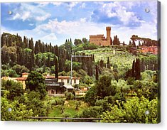 Tuscan Fields And Old Castle In Florence Acrylic Print