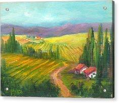 Tuscan Fields Acrylic Print by Sally Seago
