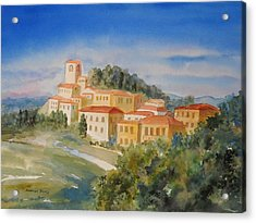 Tuscan Hilltop Village Acrylic Print by Marilyn Young
