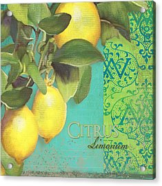 Tuscan Lemon Tree - Citrus Limonum Damask Acrylic Print by Audrey Jeanne Roberts
