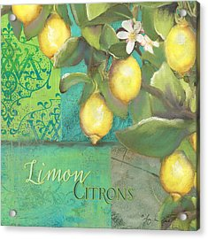 Tuscan Lemon Tree - Damask Pattern 2 Acrylic Print