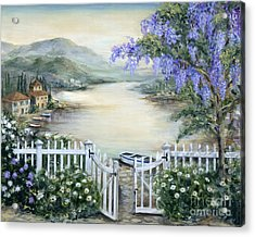 Tuscan Pond And Wisteria Acrylic Print by Marilyn Dunlap