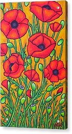 Tuscan Poppies - Crop 2 Acrylic Print by Lisa  Lorenz