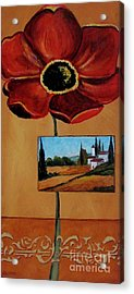 Tuscan Poppy Postcard Acrylic Print by Italian Art