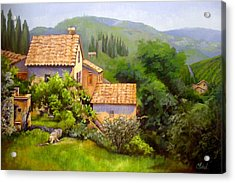 Acrylic Print featuring the painting Tuscan Village Memories by Chris Hobel