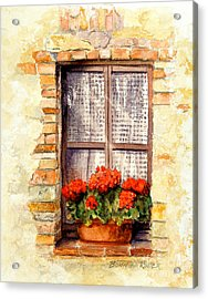 Acrylic Print featuring the painting Tuscan Window by Bonnie Rinier