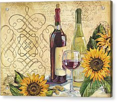Tuscan Wine And Sunflowers Acrylic Print