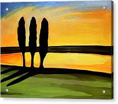 Tuscany Cypress Acrylic Print by Elizabeth Robinette Tyndall