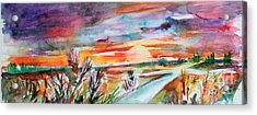 Acrylic Print featuring the painting Tuscany Landscape Autumn Sunset Fields Of Rye by Ginette Callaway