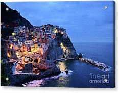 Acrylic Print featuring the mixed media Tuscany Like Amalfi Cinque Terre Evening Lights by Rosario Piazza