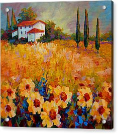 Tuscany Sunflowers Acrylic Print by Marion Rose